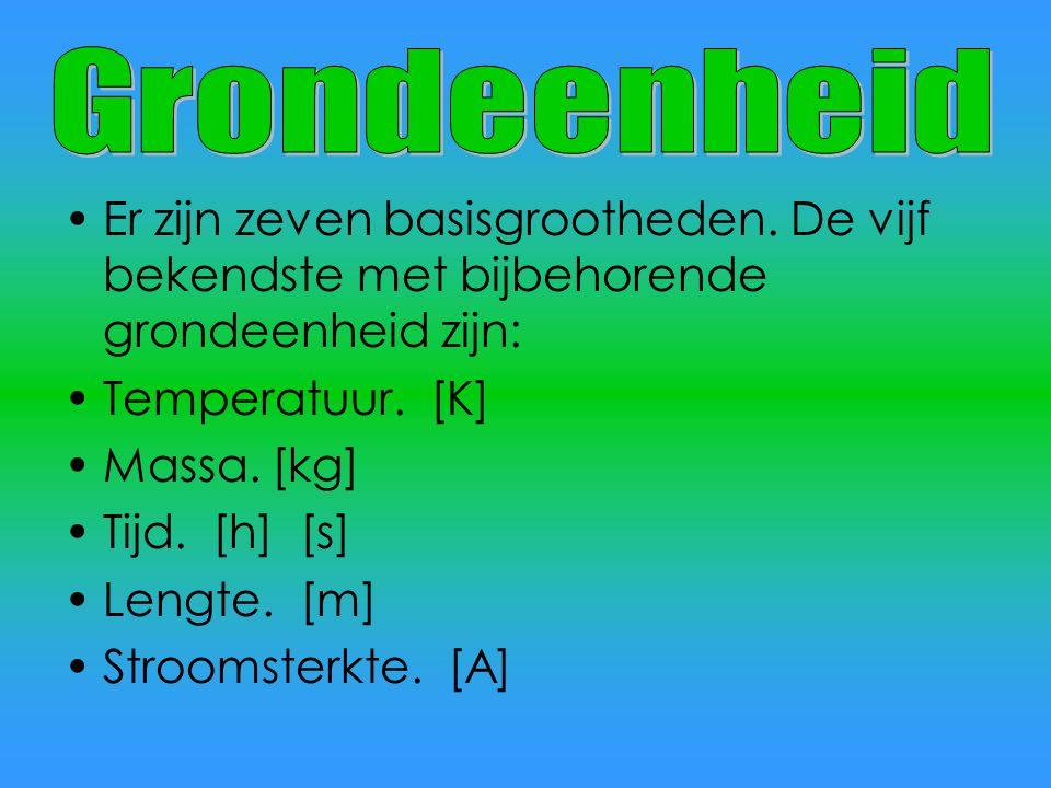 Grondeenheid Er zijn zeven basisgrootheden. De vijf bekendste met bijbehorende grondeenheid zijn: Temperatuur. [K]